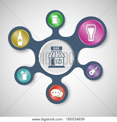 Bar infographic templates with connected metaballs, stock vector