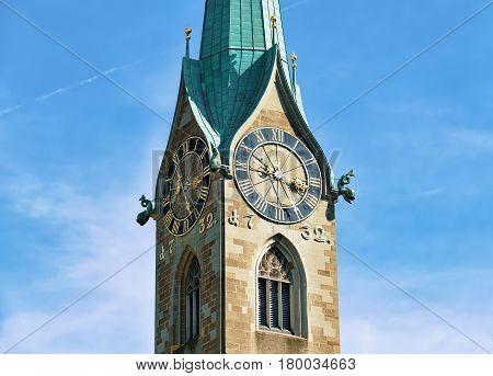 Clock Of Fraumunster Church In Zurich