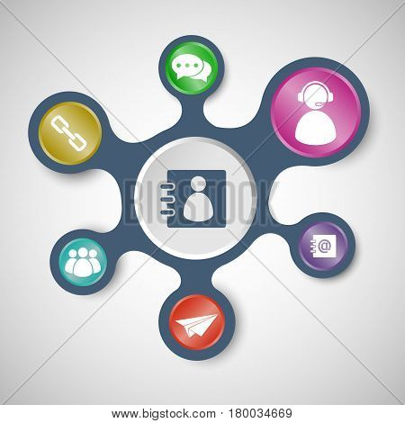 Contact us infographic templates with connected metaballs, stock vector
