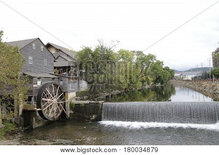 Old Mill Water Wheel and Dam Gatlinburg Tennessee
