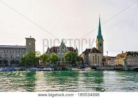 Fraumunster Church At Limmat River Quay Zurich