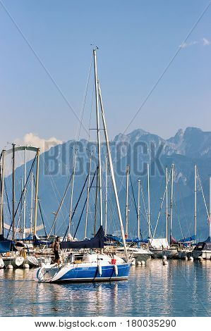 Marina And Yachts On Lake Geneva In Lausanne Of Switzerland