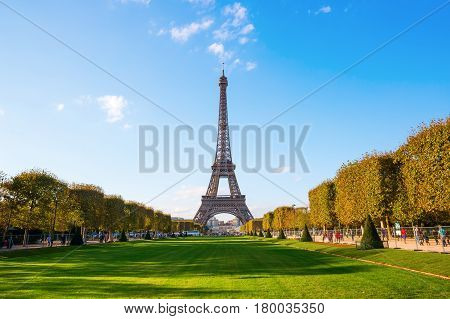 Eiffel Tower In Paris Seen From Champs De Mars