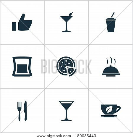 Vector Illustration Set Of Simple Restaurant Icons. Elements Favorite, Coffee, Pepperoni And Other Synonyms Like, Pizzeria And Champagne.