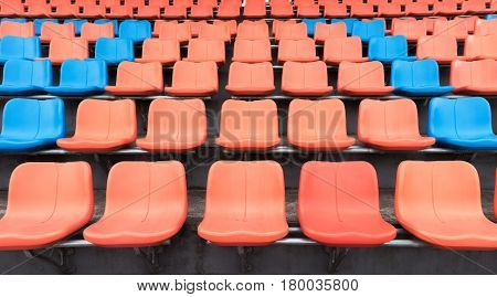 Orange And Blue Plastic Spectator Seats, Competition Concept