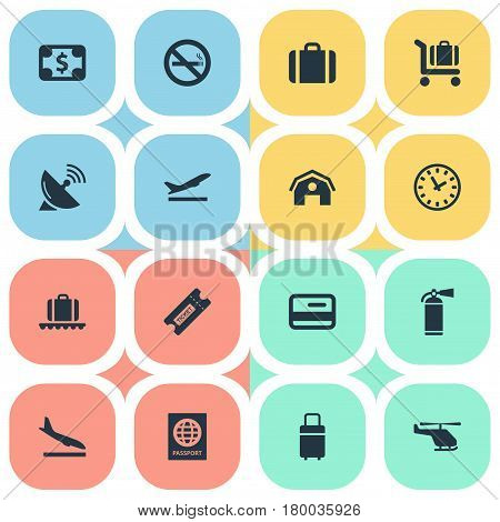 Vector Illustration Set Of Simple Airport Icons. Elements Antenna, Luggage Carousel, Baggage Cart And Other Synonyms Time, Luggage And Warning.