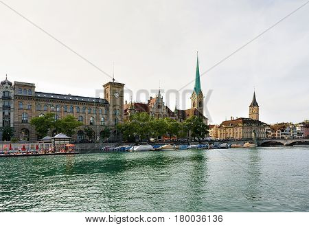 St Peter And Fraumunster Church At Limmat River Quay Zurich