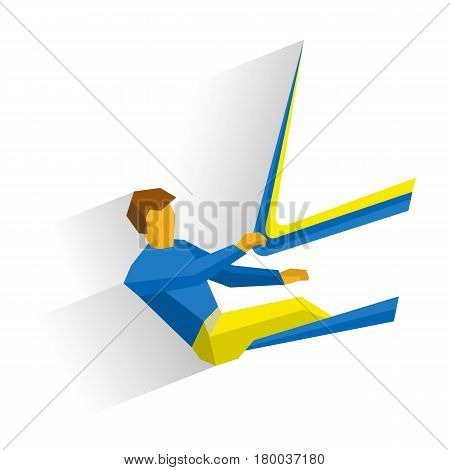 Sportsman in boat holding a sail. Athlete isolated on white background with shadows. International sport games infographic. Sailing competition - flat style vector clip art.