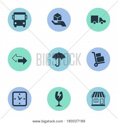 Vector Illustration Set Of Simple Handing Icons. Elements Packaging, Gingham, Minutes And Other Synonyms Shipping, Arrow And Baggage.