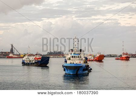 Labuan,Malaysia-Jan 22,2016:Multi function offshore support/platform supply vessels in Labuan,Malaysia.All the vessels in Labuan island,most related to the offshore Oil & Gas industry.