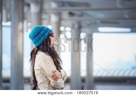 Woman Hugging Herself And Looking Away With Winter Lonely Emotional. Lonely Concept Of Yourself Body