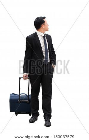 Confident Asian Businessman Standing With Travel Luggage And Looking Away On White Background For Vi