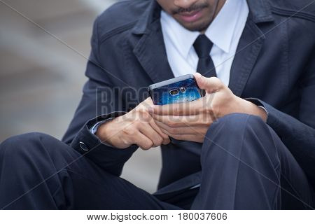 Businessman Using A Cell Phone Close Up Shot Background