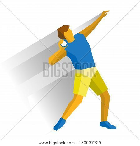 Shot put athlete isolated on white background with shadows. International sport games infographic. Track-and-field athletics, flat style vector clip art.