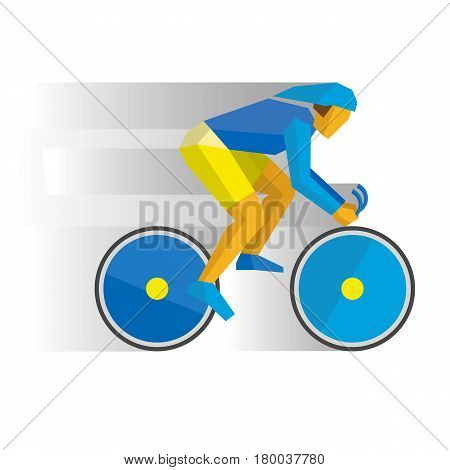 Summer sports - Track cycling. Cartoon cyclist in helmet on a bike, with shadows behind. Flat style vector clip art isolated on white background.