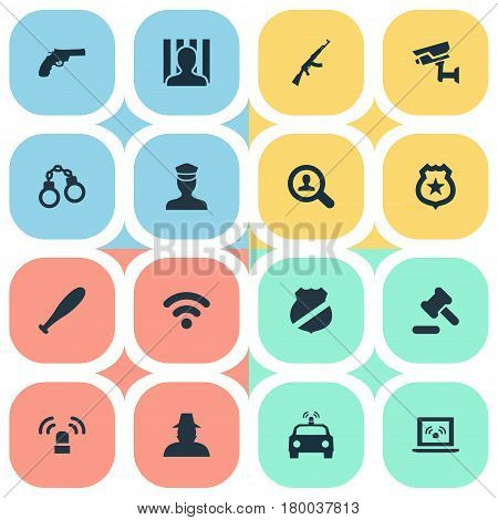 Vector Illustration Set Of Simple Offense Icons. Elements Investigation, Lock, Grid And Other Synonyms Internet, Sheriff And Safety.