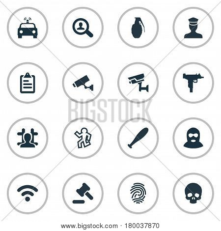 Vector Illustration Set Of Simple Crime Icons. Elements Identification, Internet, Explode And Other Synonyms Alarm, Safety And Board.