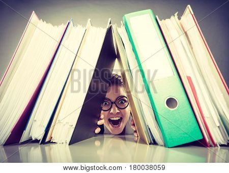Happy Crazy Accountant With Piles Of Binders.