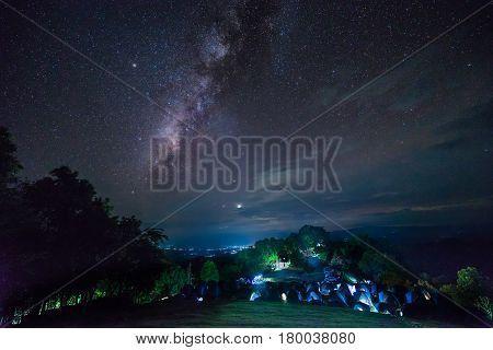 Milky way over camping area on national park in northern of Thailand
