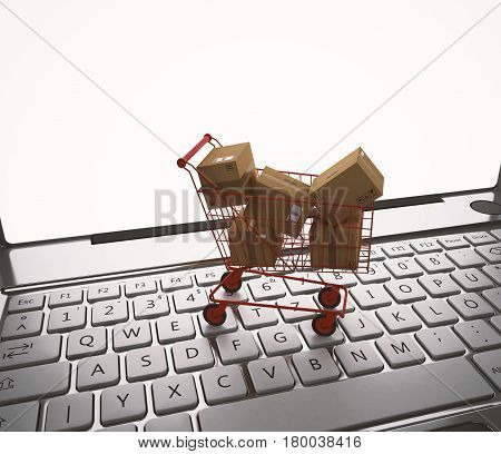 Shopping cart full of cardboard boxes on the keyboard of laptop. 3D Rendering