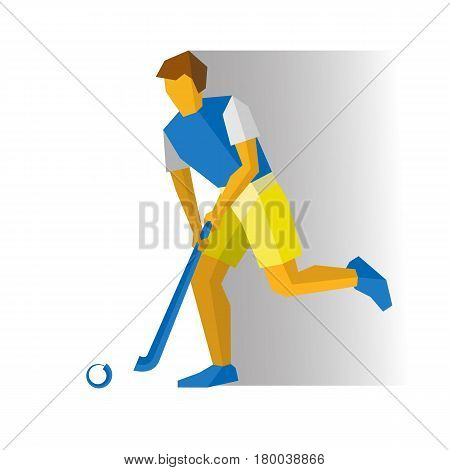 Running field hockey player. Athlete isolated on white background with shadows. International sport games infographic. Flat style vector clip art.