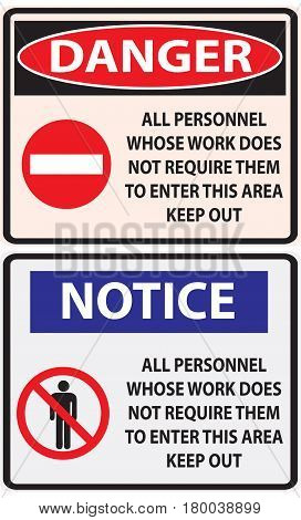 A working index prohibiting people in the work zone who do not work in it.
