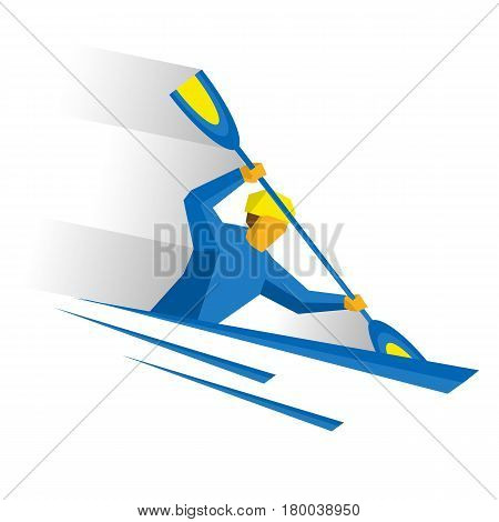 Canoe slalom. Athlete isolated on white background with shadows. International sport games infographic. Rower with paddle in boat - flat style vector clip art.