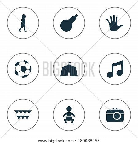 Vector Illustration Set Of Simple Infant Icons. Elements Melody, Festival, Camera And Other Synonyms Palm, Enema And Step.