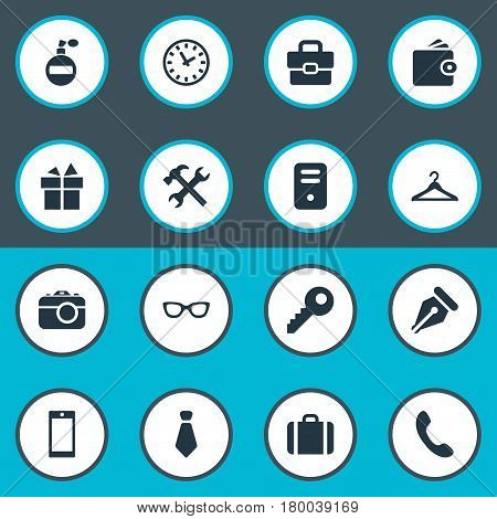 Vector Illustration Set Of Simple Accessories Icons. Elements System Unit, Present, Billfold And Other Synonyms Ink, Hanger And Work.