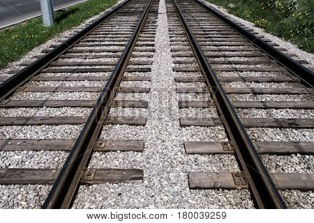 railroad rails with two directions of ways
