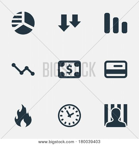 Vector Illustration Set Of Simple Situation Icons. Elements Clock, Round Graph, Line Chart And Other Synonyms Jailer, Business And Descending.