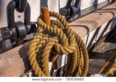 ropes rigging masts and stays on traditional tall ship