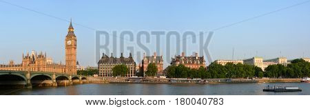 Big Ben & Victoria Embankment Panorama with Westminster Bridge London UK.