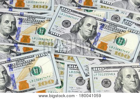close up on USD hundred dollar bills background
