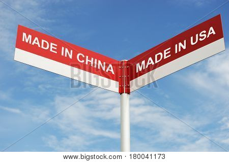 road directional sign with choice made in China or USA