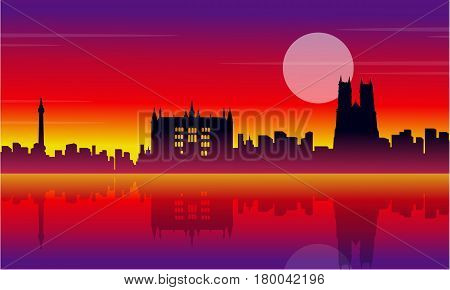 Silhouette of London city beauty scenery vector illustration