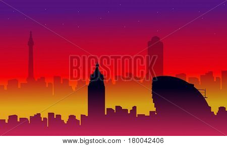 Collection of London city building silhouettes scenery illustration