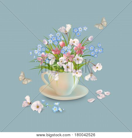 Spring or summer bouquet of herbs and various flowers in teacup butterfly fallen petals on a grey background. Vector holiday composition