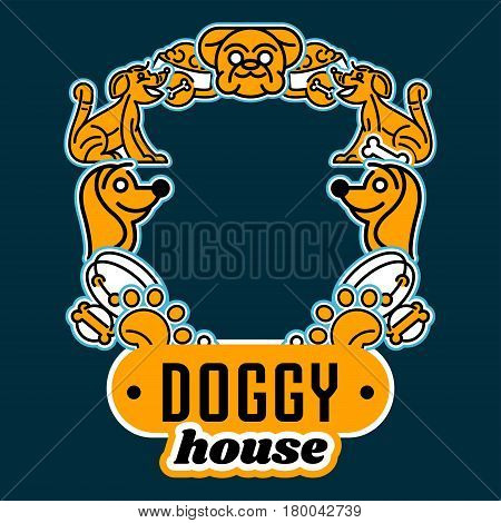 Vector illustration on the theme of assortments for the dog. Isolated elements arranged in a circle. Collar, dog's head, a trace of foot, for a bowl of food. Flat style, line art