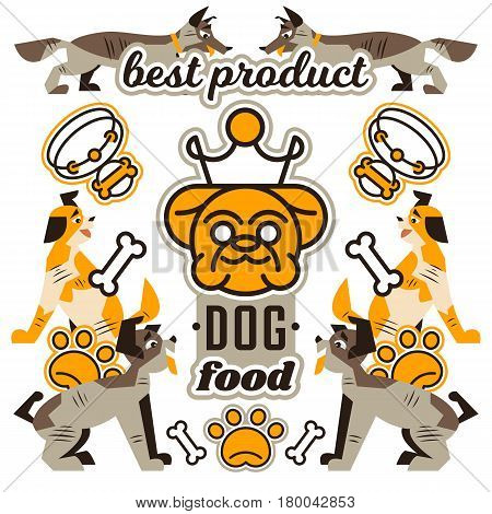 Vector illustration on the theme of food for dogs. Logo English bulldog with a crown. Isolated objects on the background. Collar, pets, bone, paw trail. Flat style