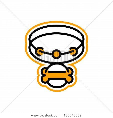 Logo on the theme of pets. Collar for a dog, bone. Vector illustration. Line style