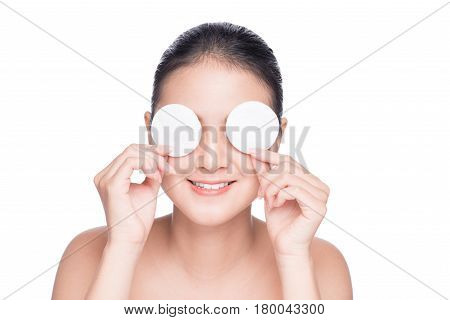 Skin Care Woman. Portrait Of Asian Young Girl Doing Daily Skincare Using Cotton Pad