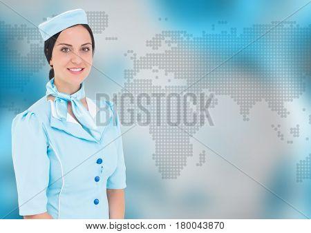 Digital composite of Stewardess against blue map