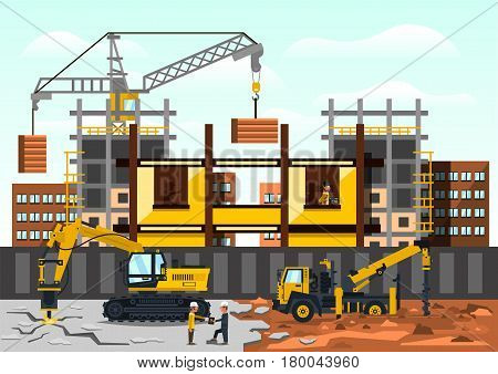 Vector illustration on the theme of a construction site. Construction of the building on background of the city. Construction crane, excavator drilling asphalt, truck, workers. Flat style