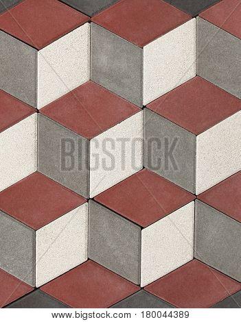 Concrete blocks for sidewalk or pavement 3D cubes