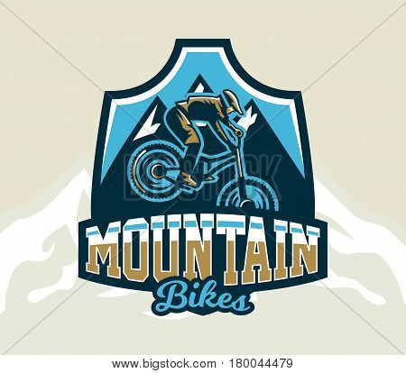 Colorful logo, emblem, label, club riders perform tricks on a mountain bike on a background of mountains, isolated vector illustration. Club downhill, freeride. Print on T-shirts.