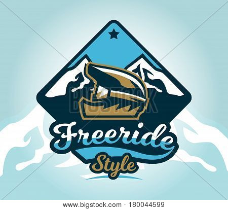 Colorful logo, emblem, sticker, extreme cyclist helmet on a background of mountains, isolated vector illustration. Club downhill, freeride. Print on T-shirts.
