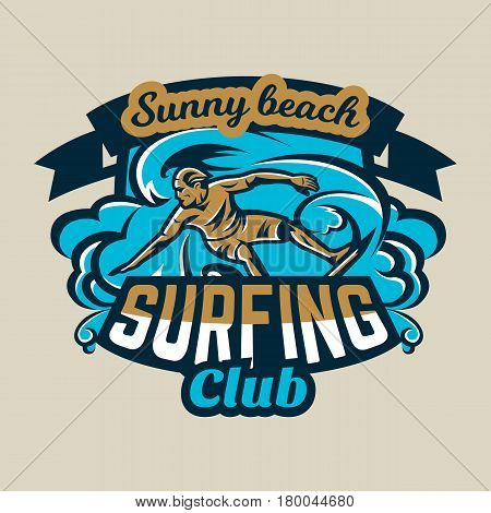 Colorful logo, emblem, sticker, surfer drifting on the waves. Beach, waves, palm trees, tropical island. Extreme sport. Badges shield. Vector illustration.