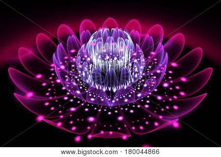 Abstract Exotic Flower With Glowing Sparkles On Black Background. Fantasy Fractal Design In Pink And