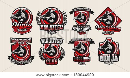 Set of colorful logos, emblems, ninja holding a katana in hand, a variety of fonts, isolated vector illustration.
